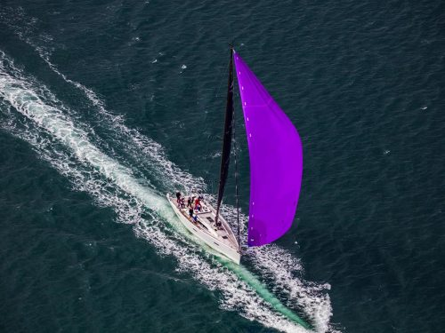 Aerial view of racing yacht off Kinsale
