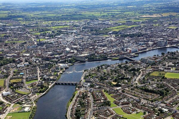 Limerick City aerial view looking south from Thomond Bridge